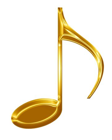Golden music note on a solid white background Stock Photo - 15009183
