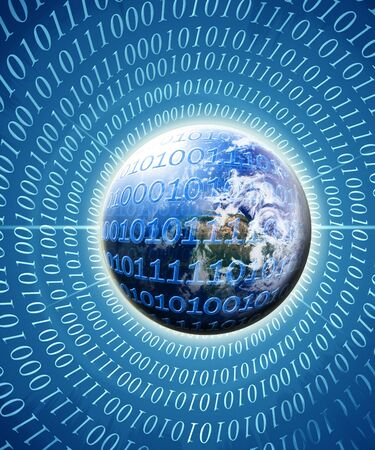 digital Numbers: Visual representation of a digital world with bits and bytes Stock Photo