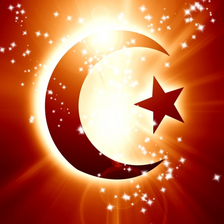 mohammed: The symbol of Islam with a crescent and star Stock Photo