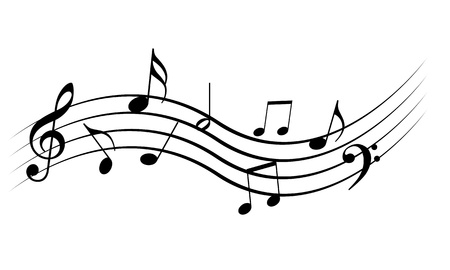 swirling: Music notes on a solide white background