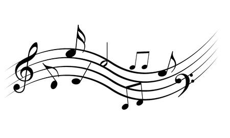 Solide 白い背景の上の音楽ノート