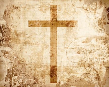 pergamino: Cristianismo representaci�n con el s�mbolo de una cruz en pergamino
