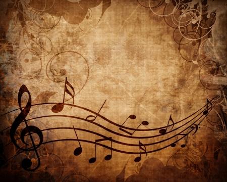 De música antigua con las notas musicales
