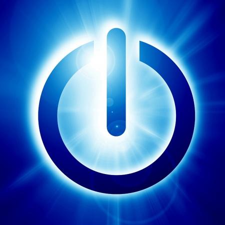 intense: Blue glowing power button on a soft dark background