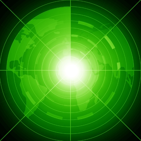 Green radar screen performing a scan of the region Stock Photo - 15009299