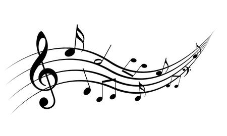 pentagrama musical: Notas de la música sobre un fondo blanco solide