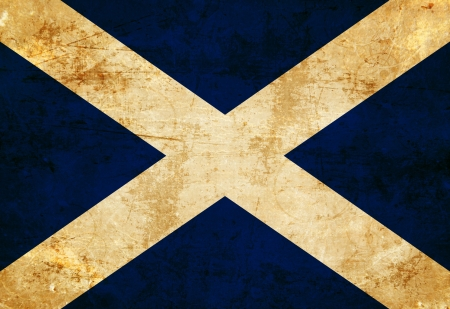 Scottish flag with a vintage and old look photo