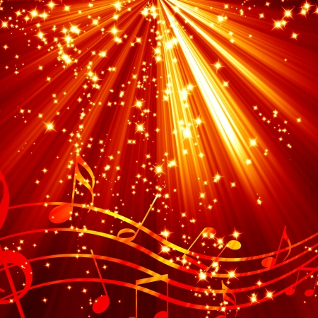 notes music: Musical note on a red and burning  background