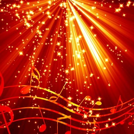notes musicales: Note de musique sur un fond rouge et br�lant