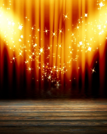 stage curtain: Stage lights with room for an added object