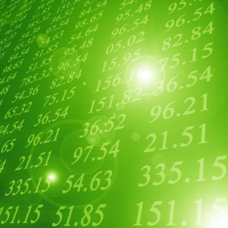 Electronic stock numbers on a green background photo