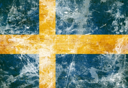Swedish flag with a vintage and old look photo