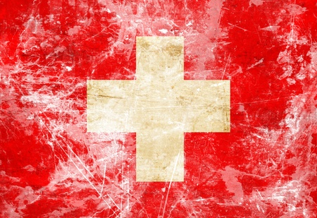 switzerland flag: Swiss flag with a vintage and old look Stock Photo