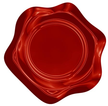Red wax seal isolated on a solid white background Stock Photo - 15009292