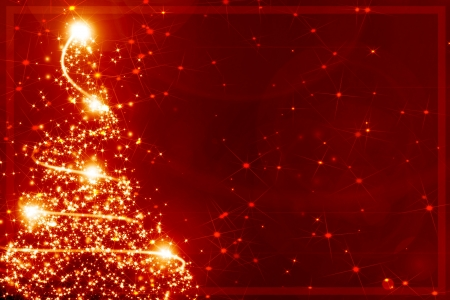 Abstract christmas tree on a red background photo
