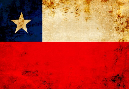 chilean flag: Chilean flag with a vintage and old look Stock Photo