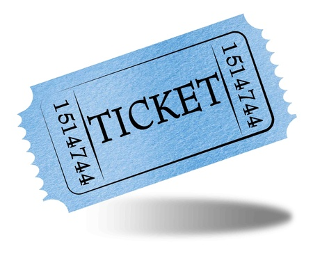 raffle: Admit ticket on a solid white background