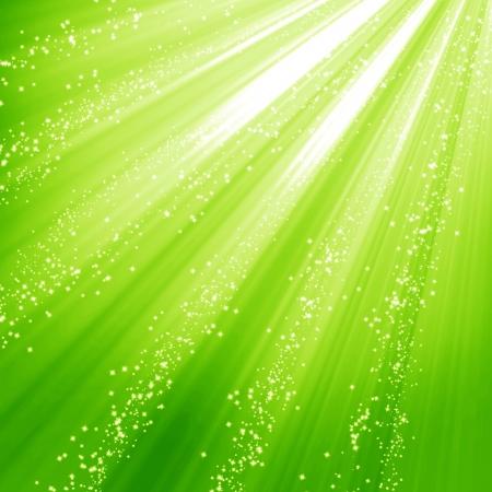 bursts: Sfondo verde e fresco con riflessi morbidi e scintillii