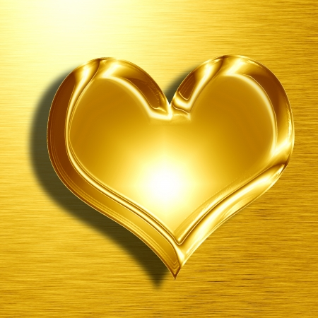 Golden heart with smooth lines and some faint reflections Stock Photo - 15140167