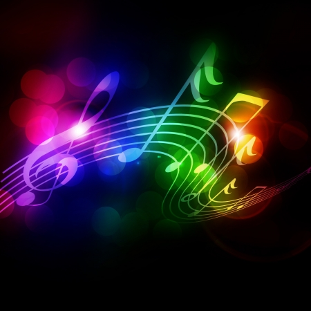musical note: Colorful musical note on a soft dark background Stock Photo