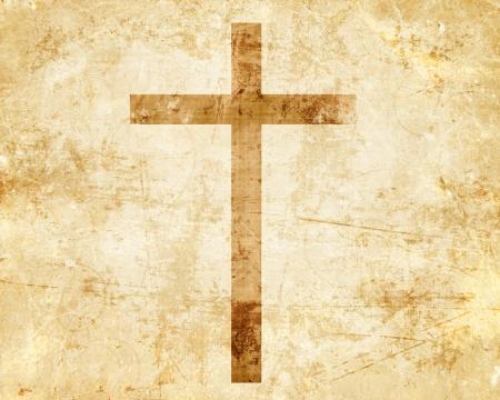 cruz religiosa: Cristianismo representaci�n con el s�mbolo de una cruz en pergamino