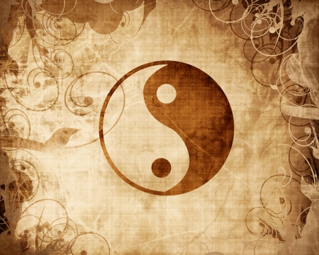 Yin Yang sign with some highlights and reflections photo