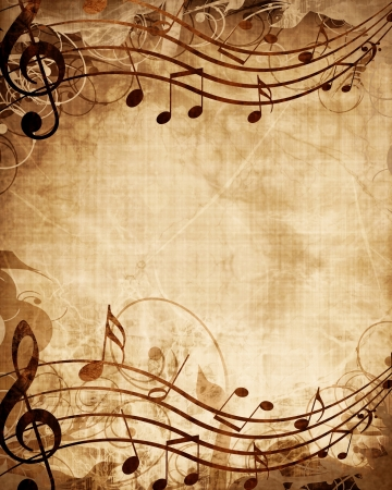 swirling: Old music sheet with musical notes