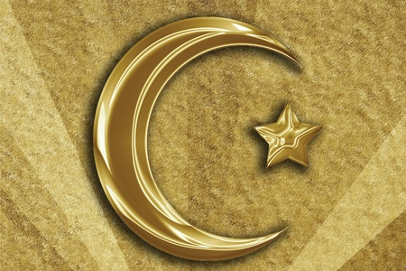Islam sign with a crescent and a smaller star photo