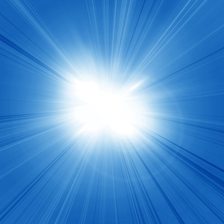 blue flame: Intense sun on a soft blue background