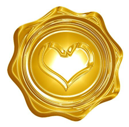 Golden heart with smooth lines and some faint reflections Stock Photo - 15140125