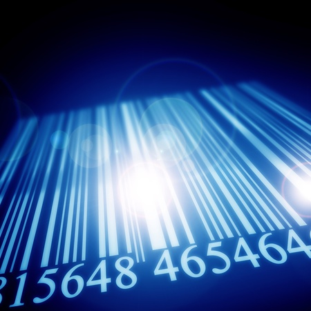 scanned: Bar code on a blurred background with some highlights Stock Photo