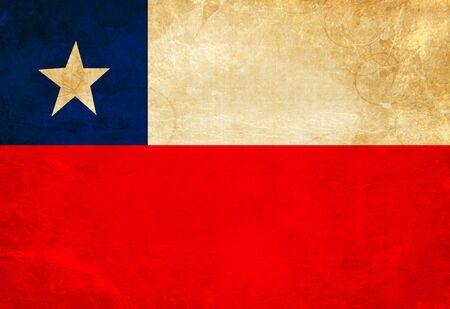 chilean flag: Bandera chilena con un aspecto vintage y antiguos