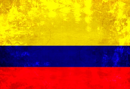 Colombian flag with a vintage and old look photo