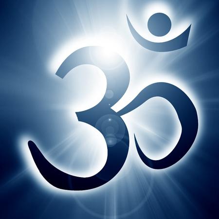 om symbol: Om symbol on a soft glowing background with beams
