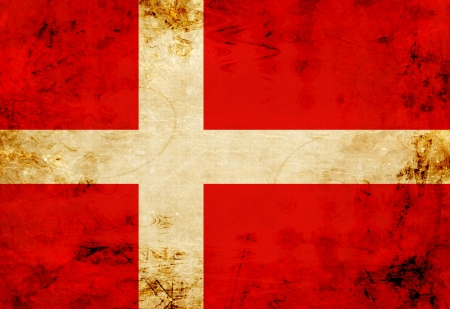 Danish flag with a vintage and old look