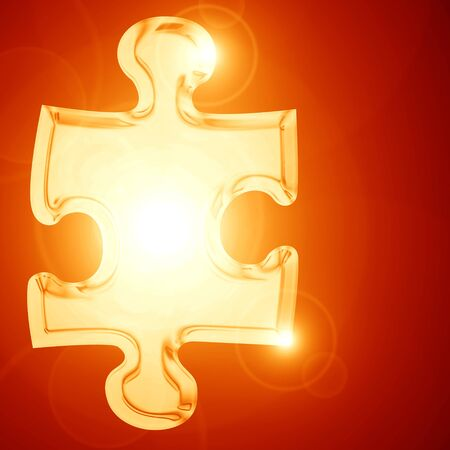 Glowing puzzle piece with some soft highlights Stock Photo - 15612681