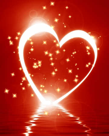 peacefull: Reflected heart with some soft glowing highlights Stock Photo