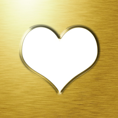 Golden heart with smooth lines and some faint reflections photo