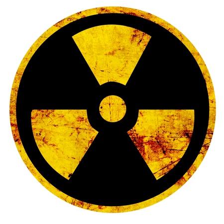 radiactividad: Signo nuclear que representa el peligro de radiaci�n Foto de archivo