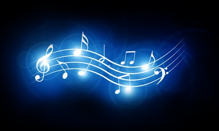 musical notes background: Colorful musical notes on a soft dark background Stock Photo
