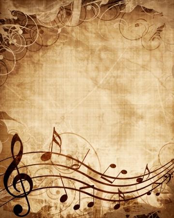 De música antigua con las notas musicales Foto de archivo