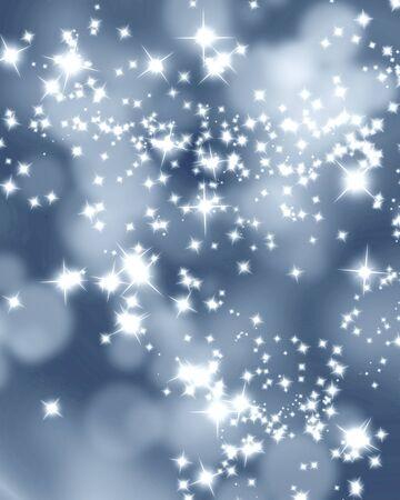 estrellas de navidad: Plata brilla sobre un fondo borroso suave con reflejos suaves Foto de archivo