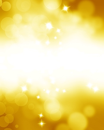 Golden glitters on a soft blurred background with smooth highlights photo