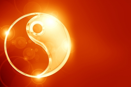 Yin Yang sign on a glowing background Stock Photo