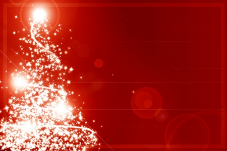Abstract christmas tree on a red background Stock Photo