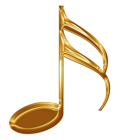 Golden music note on a solid white background Stock Photo - 15752616