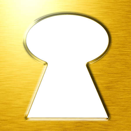 empty keyhole: Keyhole on a golden background with some grunge elements Stock Photo