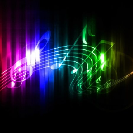 Colorful musical notes on a soft dark background Banque d'images