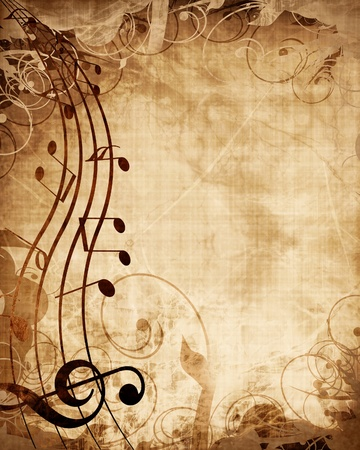 antique background: Old music sheet with musical notes
