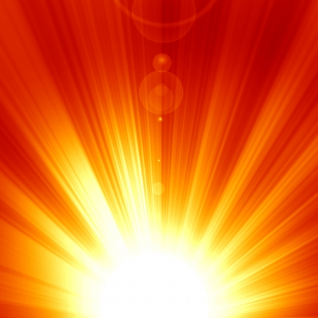 Red sun with an intense glow and sun beams Stock Photo - 15752767